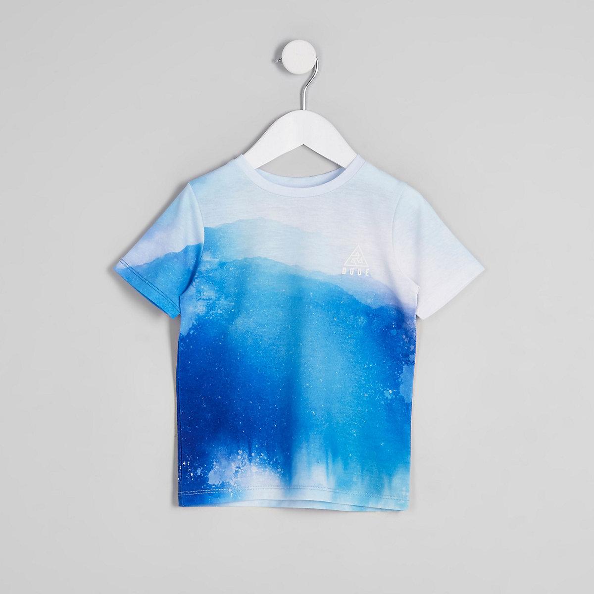 Mini boys blue fade print T-shirt
