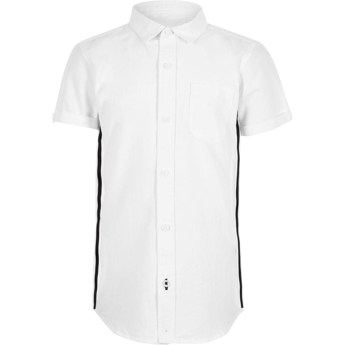 Boys white short sleeve tape Oxford shirt