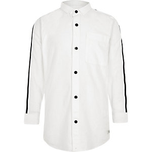 Boys white tape sleeve Oxford shirt
