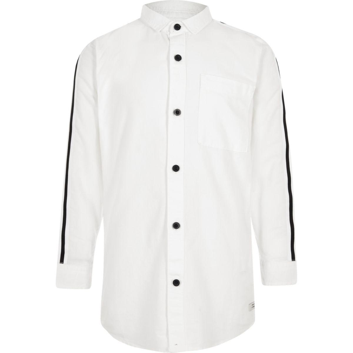 Boys white tape sleeve Oxford shirt