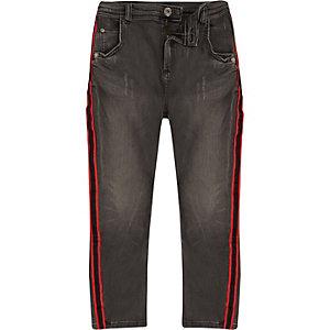 Boys black Tony tape slouch jeans