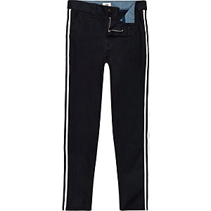 Boys navy Dylan tape side chino trousers