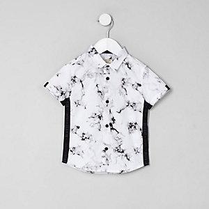 Mini - Wit overhemd met marmerprint voor jongens