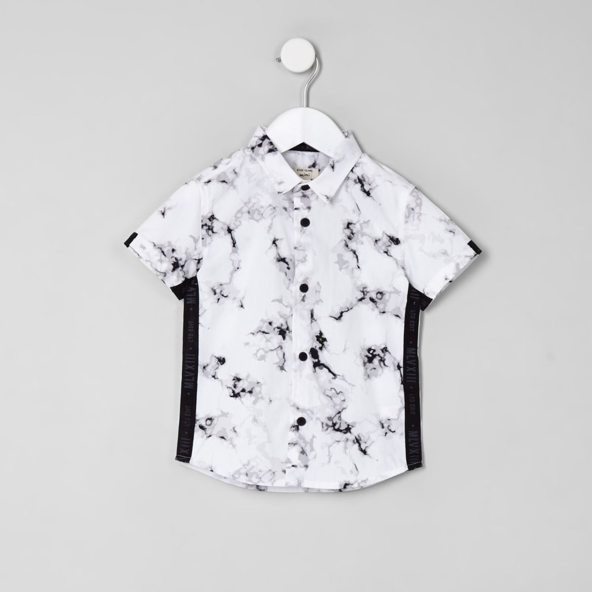 Mini boys white marble print shirt