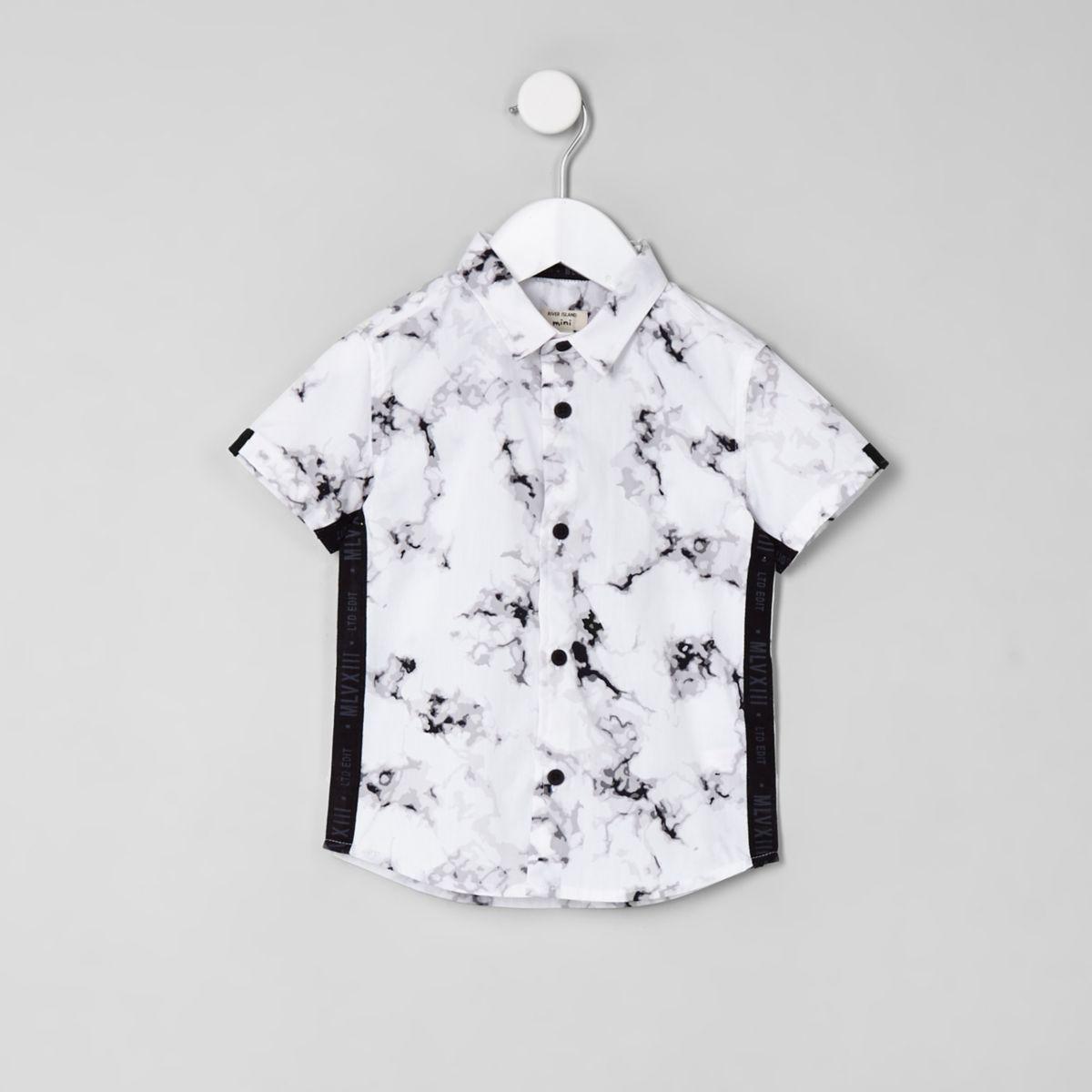 Mini boys white marble print shirt