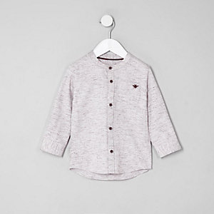 Mini boys pink herringbone shirt