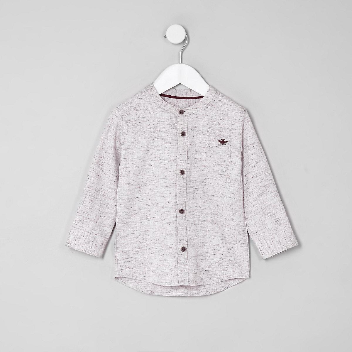 Mini boys pink herringbone shirt