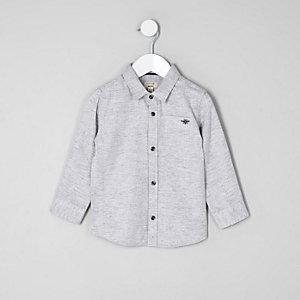 Mini boys grey herringbone shirt