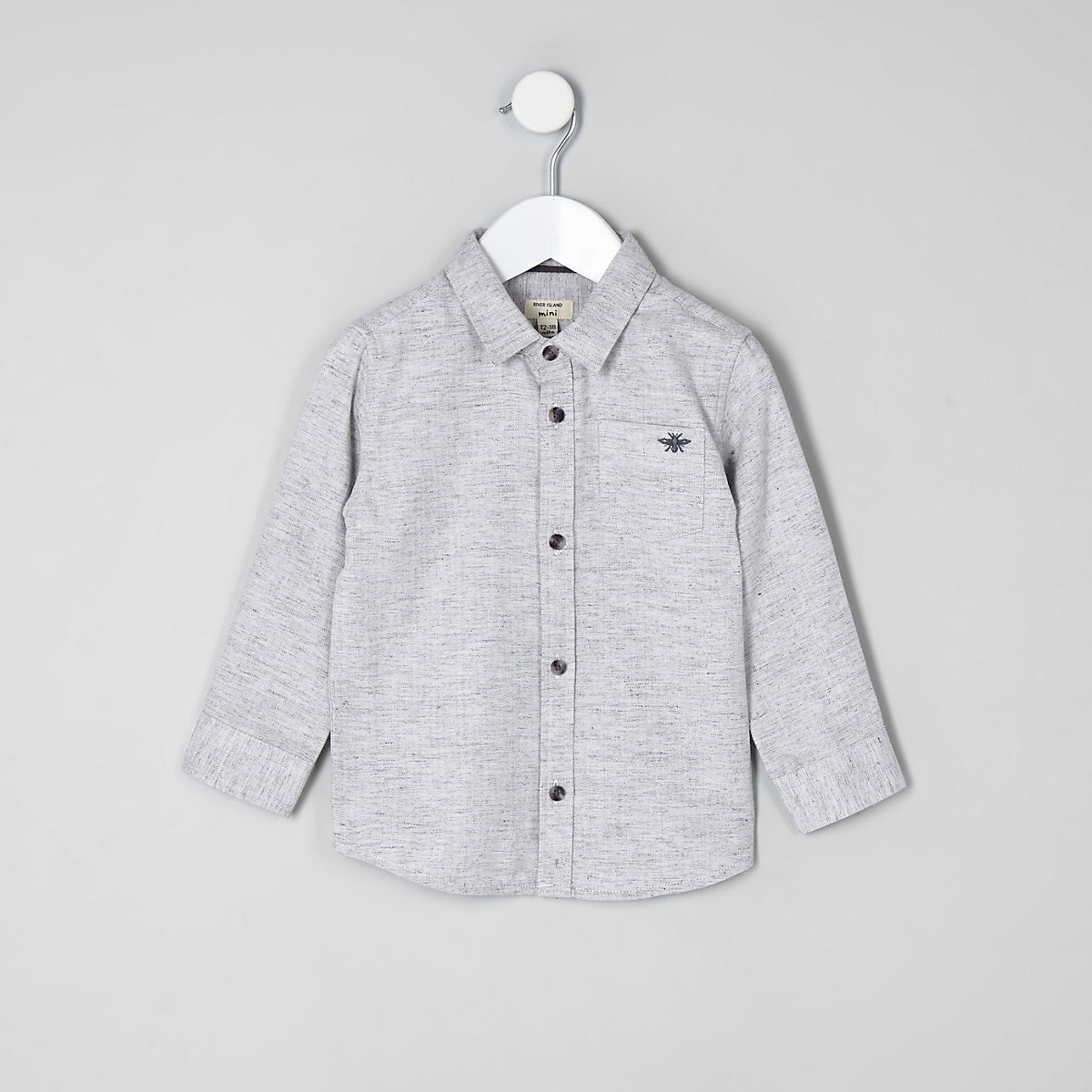 Chemise grise à chevrons mini garçon