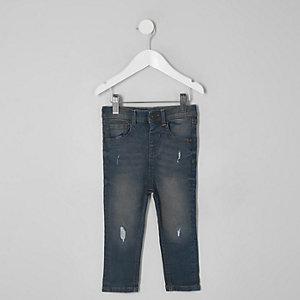 Mini boys dark denim Sid ripped skinny jeans