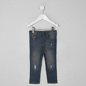 Mini - Sid - Donkere denim ripped skinny jeans voor jongens