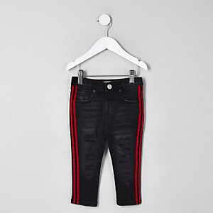 Mini boys black Sid ripped tape jeans