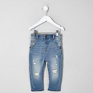Mini - Tony - Lichtblauwe ruimvallende ripped jeans voor jongens