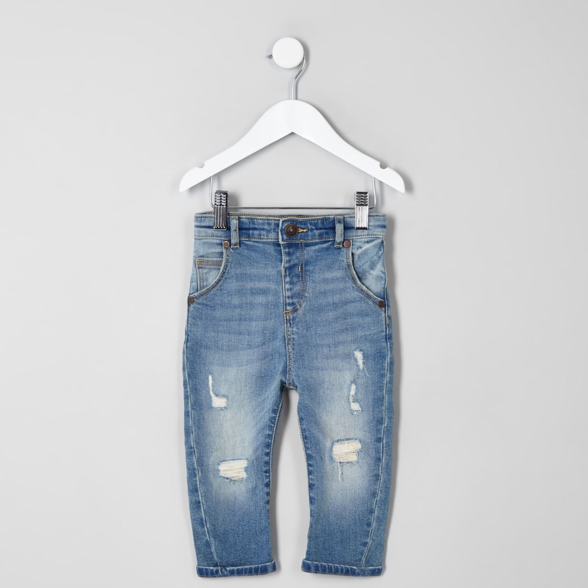 Mini boys light blue Tony slouch ripped jeans