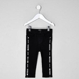 Mini - Sid - Zwarte jeans met bies met print voor jongens