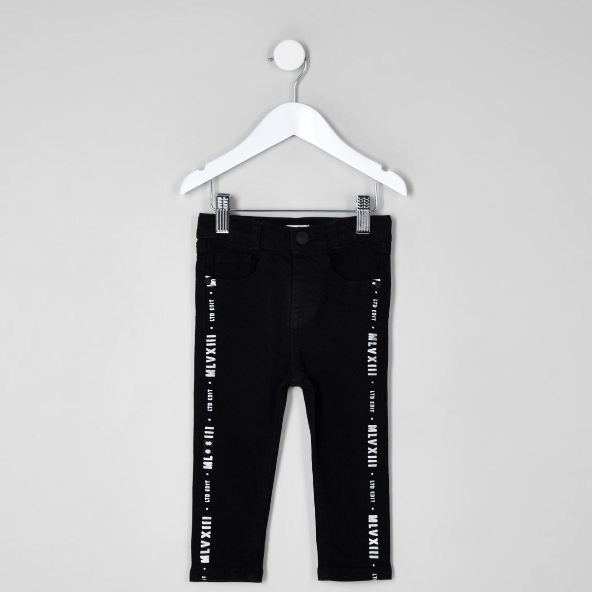 Mini boys black Sid tape print jeans