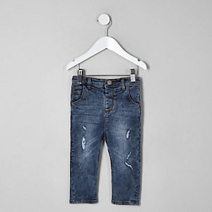 Mini boys mid blue wash ripped Tony jeans