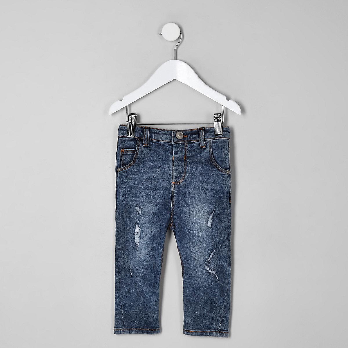 Mini boys mid blue wash ripped Tony jeans