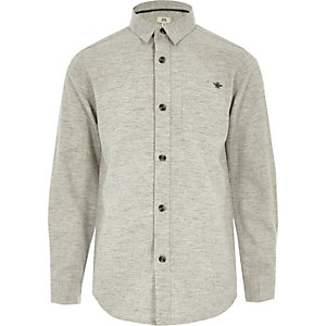 Boys grey long sleeve herringbone shirt