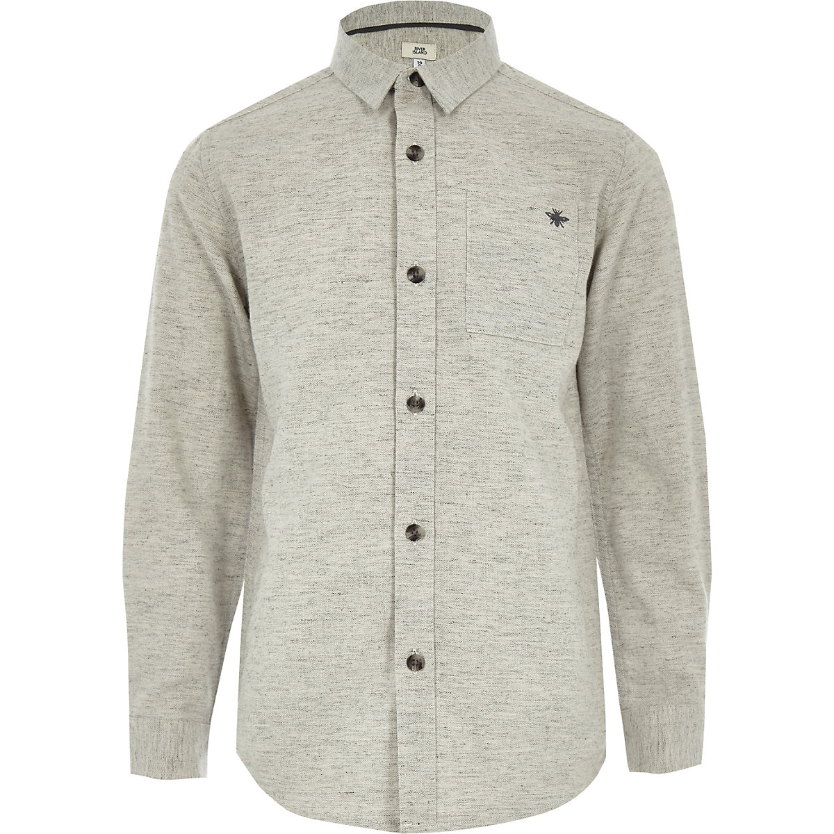 Boys grey long sleeve herringbone shirt