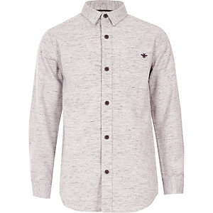 Boys pink long sleeve herringbone shirt