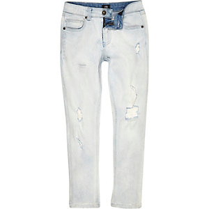 Boys light blue wash ripped Sid skinny jeans