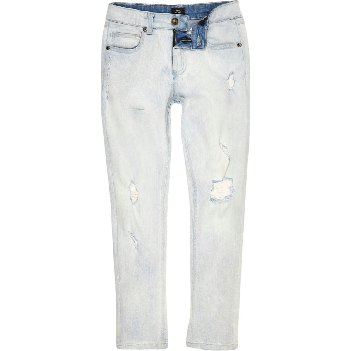 Boys light blue wash ripped Sid skinny jeans