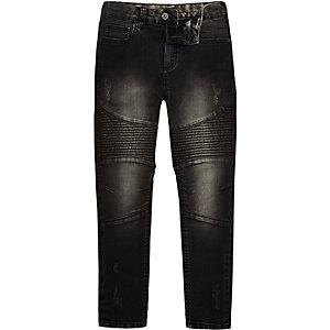 Boys black washed sid skinny biker jeans