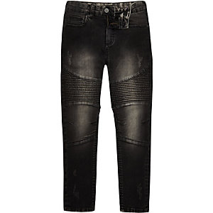 Boys black washed sid skinny biker jeans