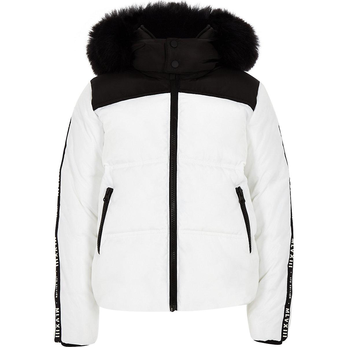 Boys white faux fur hood puffer coat