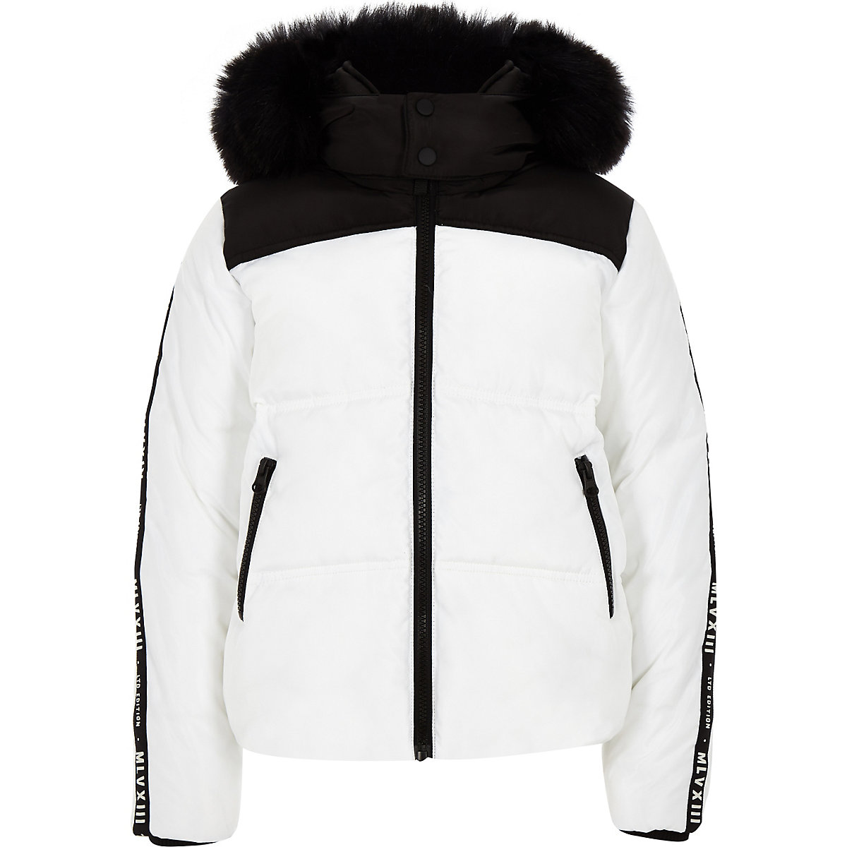 Boys white faux fur hood puffer coat
