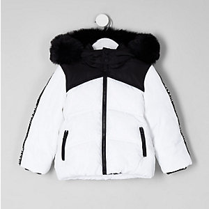 Mini boys white faux fur hood puffer coat