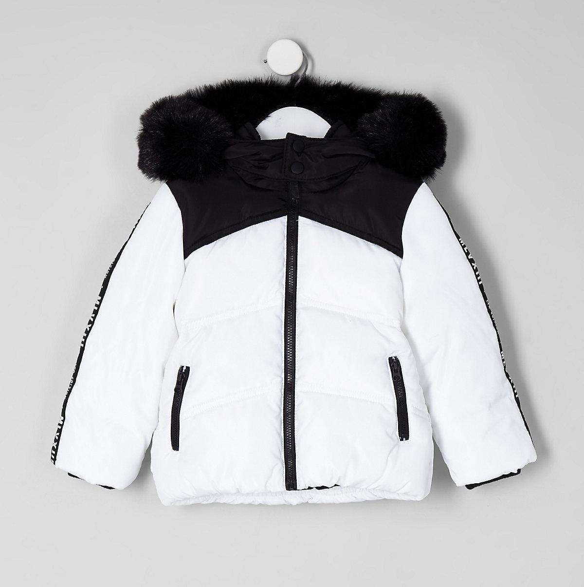 Mini boys white faux fur hood puffer coat