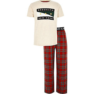 Boys green 'brooklyn' print check pyjama set