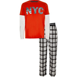 Boys orange 'NYC' double sleeve pyjamas