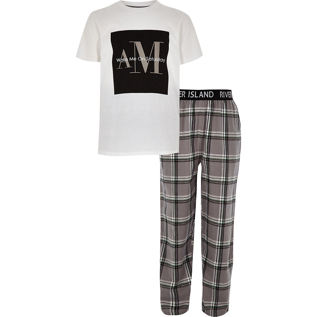 Boys grey 'Wake me' check pajama set