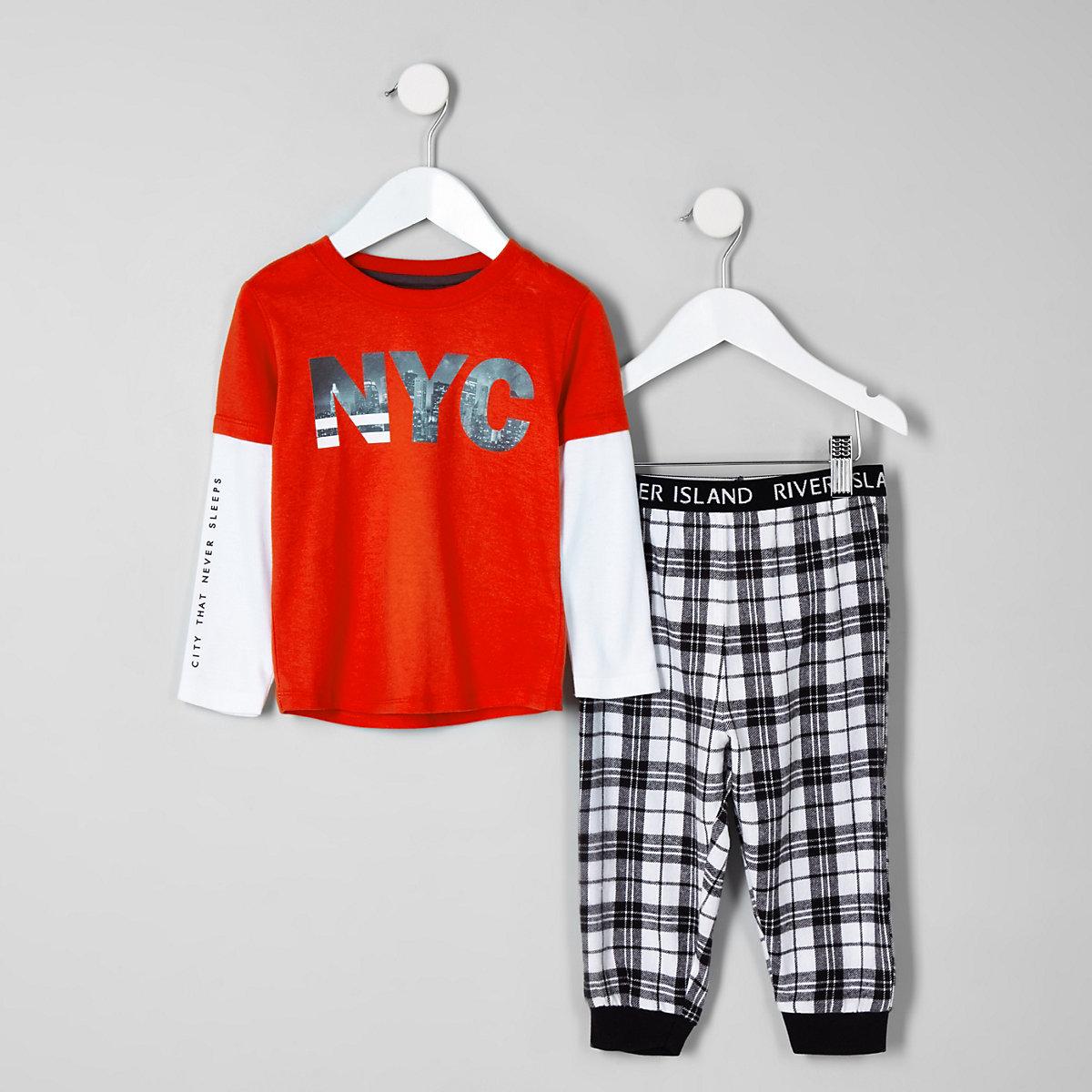 Mini boys orange 'NYC' double sleeve pajamas