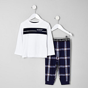 Mini boys white 'all weekend' pajama set