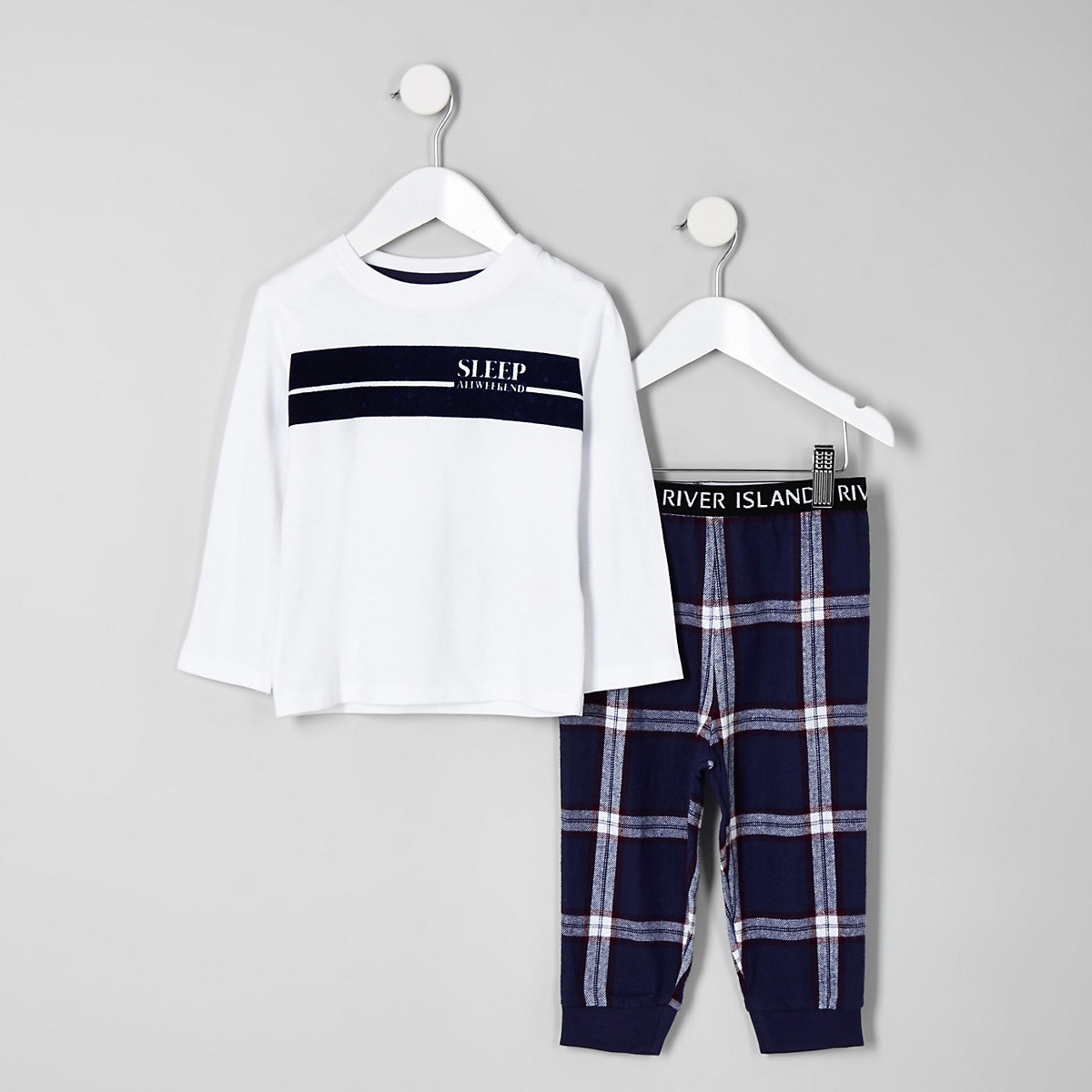 Mini boys white 'all weekend' pyjama set