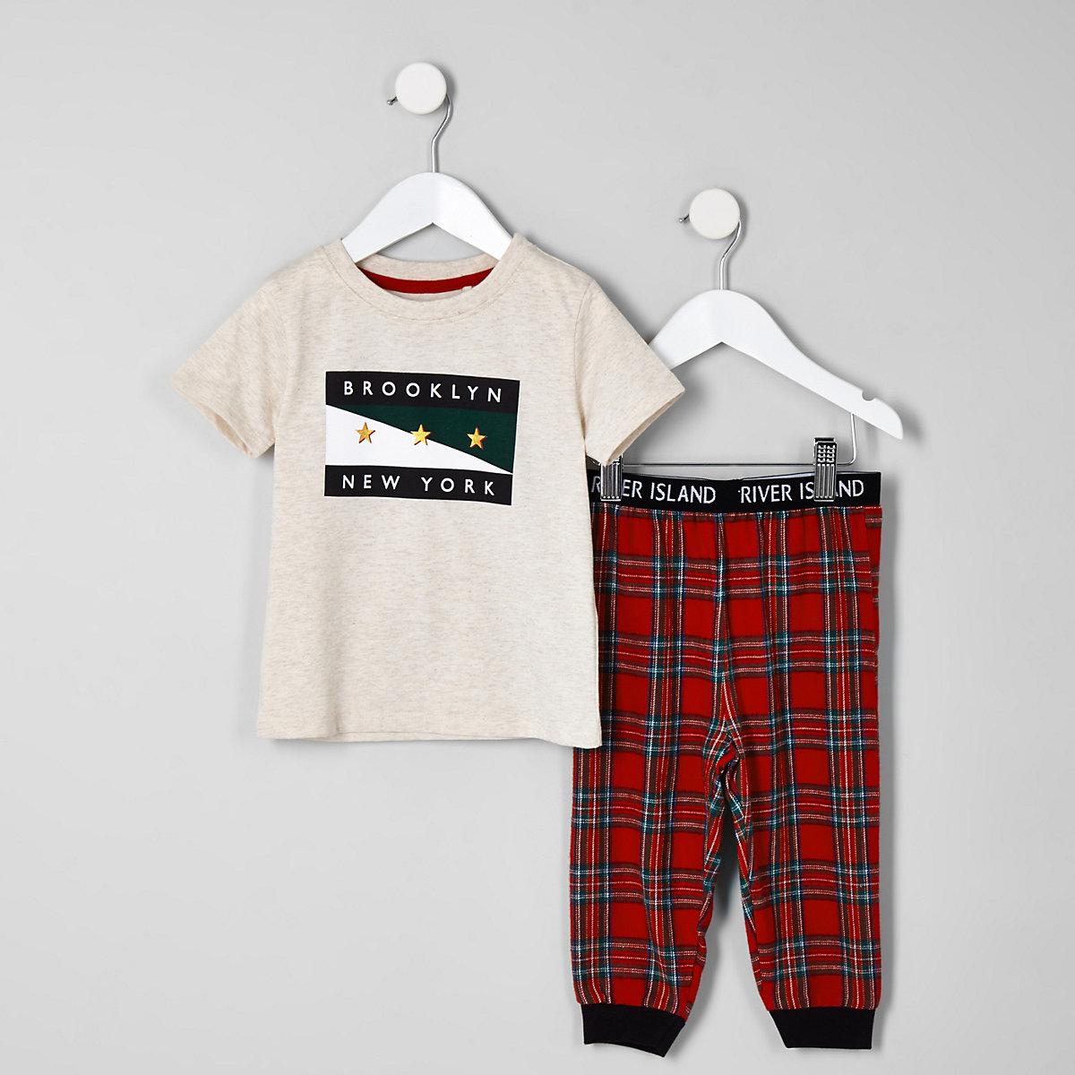 Mini boys cream 'Brooklyn' T-shirt pajama set