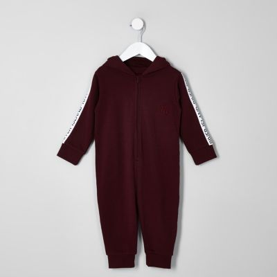 Mini Boys Dark Red Ri Onesie by River Island