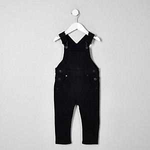 Mini - Zwarte denim tuinbroek voor kinderen