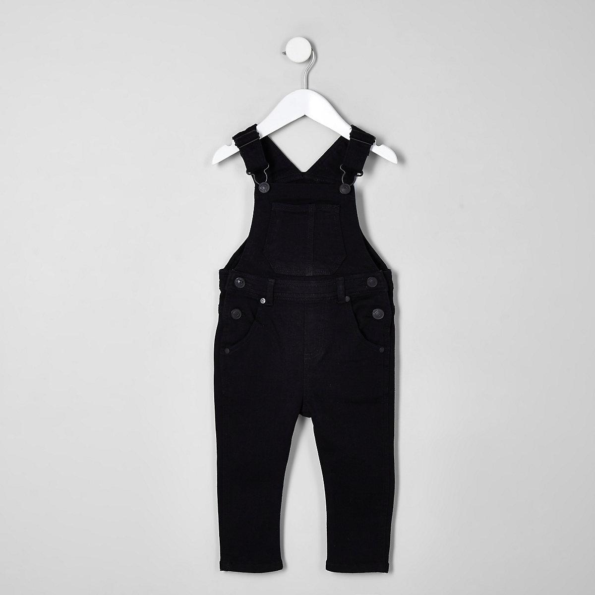 Mini kids black denim overalls