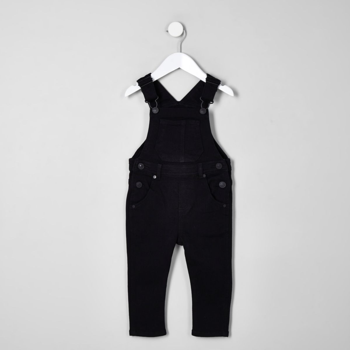 Mini kids black denim overalls