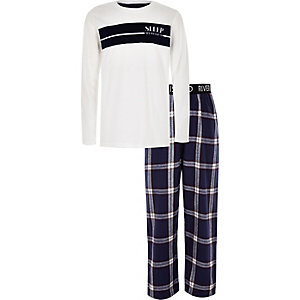 Boys white 'all weekend' check pyjama set