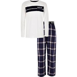 Witte geruite pyjamaset met 'all weekend'-print voor jongens