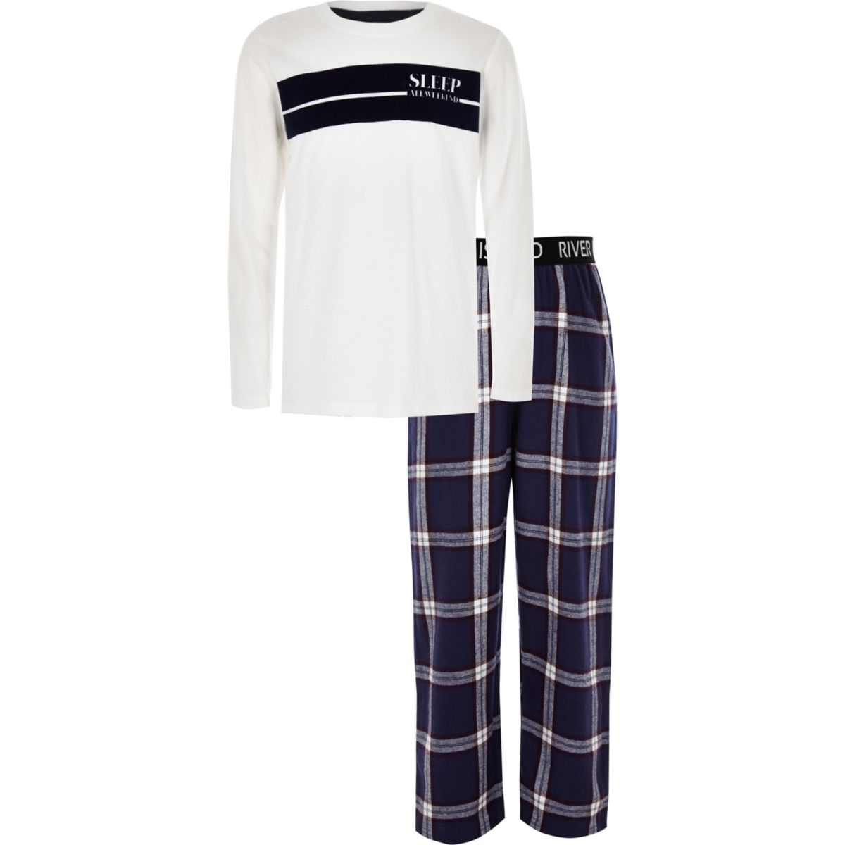 Boys white 'all weekend' check pajama set