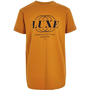 Boys yellow 'luxe' curved hem T-shirt