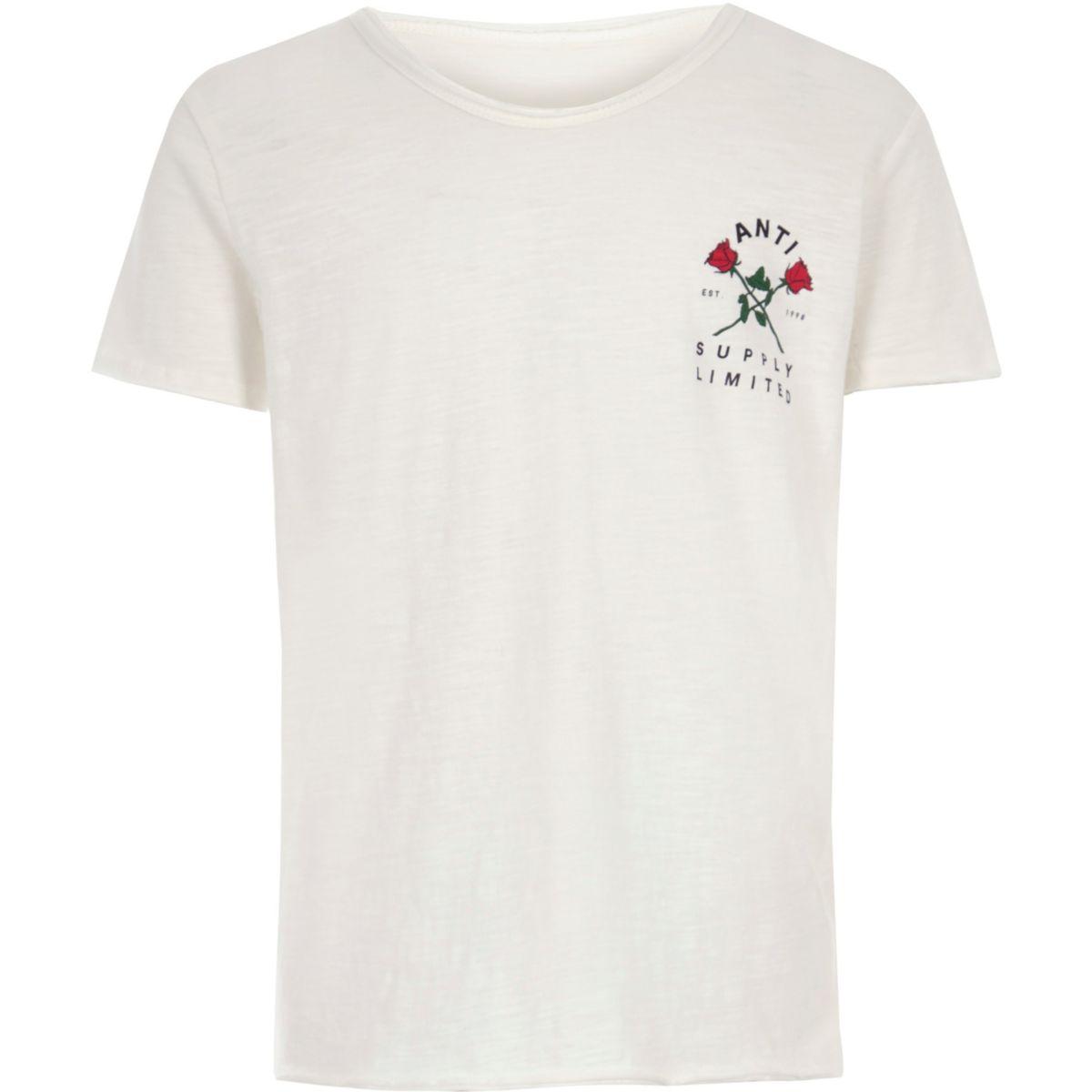 Boys cream rose chest print T-shirt