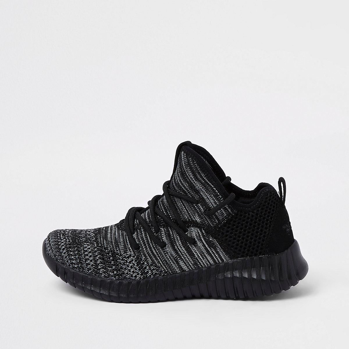 Boys Skechers black mesh runner sneakers